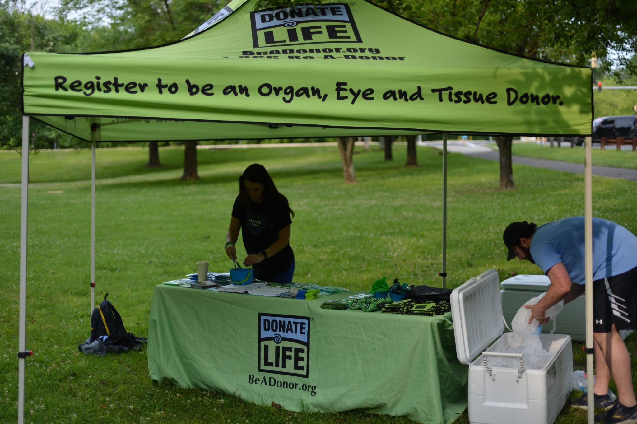 Donate Life Tent at Finish